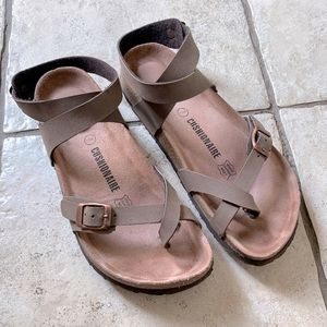 Cushionaire Brown Ankle Strap Sandals